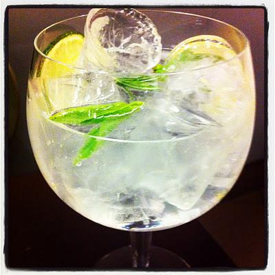 Gin Tonic con tomillo y albahaca del Bar Mô
