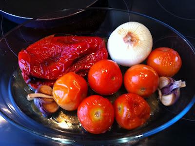 Asando las verduras